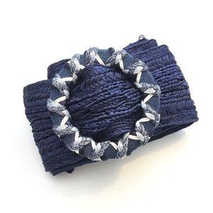Vintage 90s Ali Miles Macrame Blue Woven Fall Belt